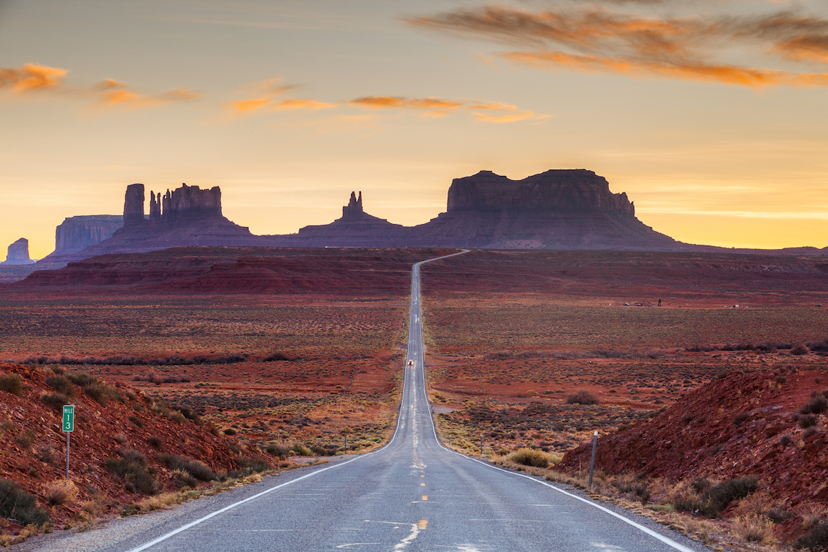 500px Photo ID: 29805039 - Monument Valley at sunset from milepost 13